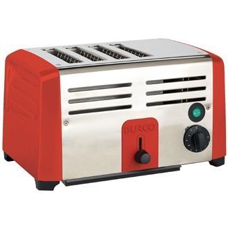 Burco Commercial 4 Slice Toaster TSSL14 RED DN655