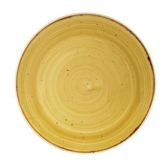 Churchill Stone Cast Mustard Seed Yellow Coupe Plate 165mm CN312