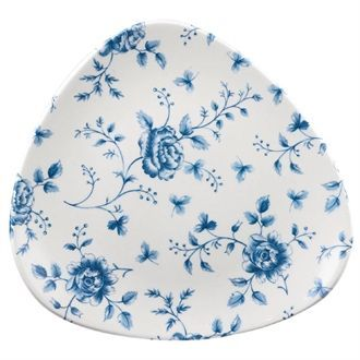 Churchill Vintage Prints Blue Rose Chintz Pattern Triangle Plate 229mm CP544