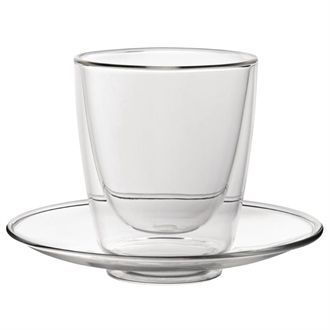 Double walled Cappuccino Glass and Saucer 220ml CP884