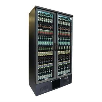 Gamko Upright Bottle Cooler - Double Hinged Door 500 Ltr Black CE563