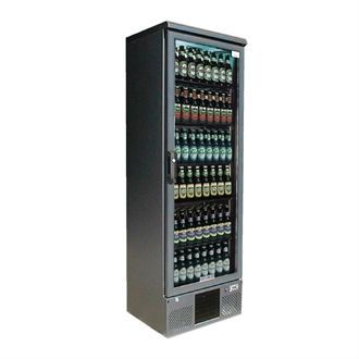 Gamko Upright Bottle Cooler - Single Hinged Door 300 Ltr Black CE562