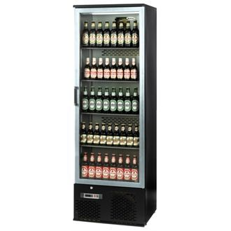 Infrico Upright Back Bar Cooler with Hinged Door in Black and Steel ZXS10 CC608