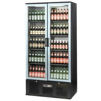 Infrico Upright Back Bar Cooler with Hinged Doors in Black and Steel ZXS20 CC609