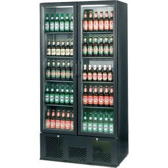 Infrico Upright Back Bar Cooler with Hinged Doors in Black ZX20 CC607