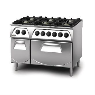Q90 6 Burner Open Burner Range with Electric 2/1GN Oven and Cupboard LPG Gas Q6CFGEA GN433-P