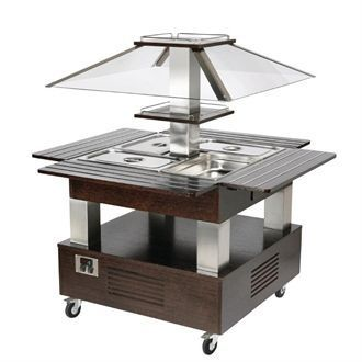 Roller Grill Heated Salad Bar Square Dark Wood GP307