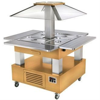 Roller Grill Heated Salad Bar Square Light Wood GP308
